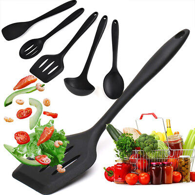 5 Pcs Silicone kitchen cooking utensil Spatulas Spoons&Turner Heat Resistant New