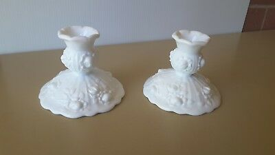 TWO  Fenton  Milk Glass Candlestick holders.  ROSES   STUNNING