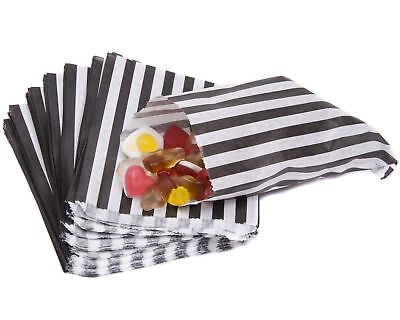 """100 BLACK STRIPED Candy Stripe Paper Party Sweet Bags 5"""" x 7""""  New"""