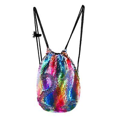 Sequin Mermaid Backpack Casual Drawstring Bag Metallic Knapsack Rucksack Lifelik
