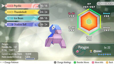 Pokemon Let's Go Pikachu & Eevee - Shiny Porygon 6iv