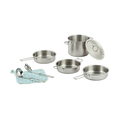 Stainless Steel Cookware  KIDS TOY Children Toy Pretend Role Play Utensils Gift