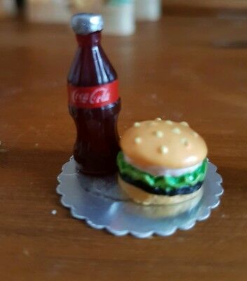 Miniature dolls house accessories tray with  Bottle of Coke and Hamburger 1:12th