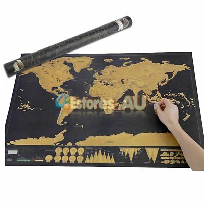 Scratch Off World Map Deluxe Large Personalized Travel Poster Atlas Decor【AU】