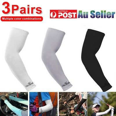 3 Pairs Cooling Sport Arm Sleeves Compression Protection Cover Tennis Driving