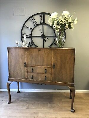 Queen Anne Style Credenza / Sideboard, Burr Wanut, Drinks Cabinet, Antique