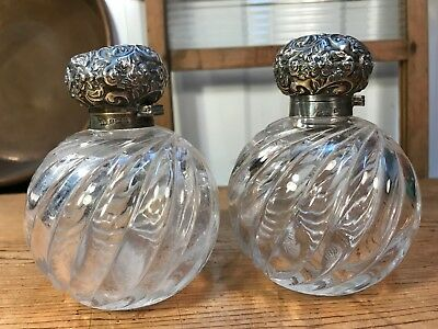 Pair Antique English Hallmarked Silver Top Perfume Bottle Birmingham c1902