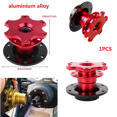 Red 6 Hole Racing Car Steering Wheel Quick Release Hub Adapter Snap Off Boss Kit