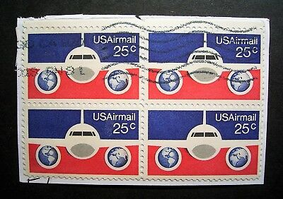 USA - 25c Air Mail Block of 4 on Paper - Good Lot
