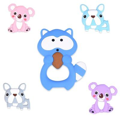 1PC animal Silicone Teether Beads for Baby Teething Pendant Toy Gift DIY Chain