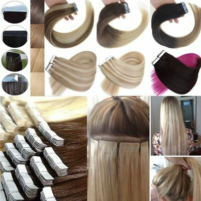 7A Seamless Tape In Skin Weft 100% Ombre Remy Human Hair Extensions 16-26Inch