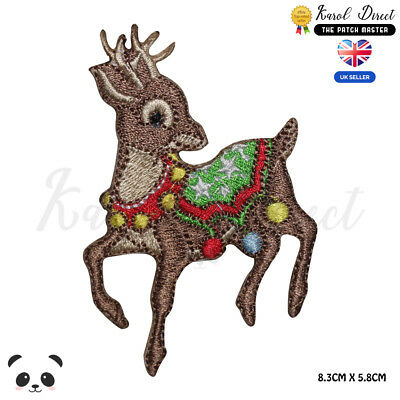 Christmas Deer Xmas Embroidered Iron On Sew On PatchBadge For Clothes etc