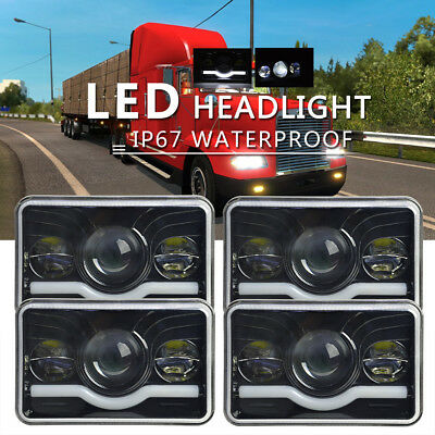 "4x6"" LED Headlights H4 Fits for Kenworth T600 Classic 120/132 Sealed Beam 6500K"