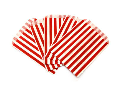 """100 RED STRIPED Candy Stripe Paper Party Sweet Bags 5"""" x 7"""""""