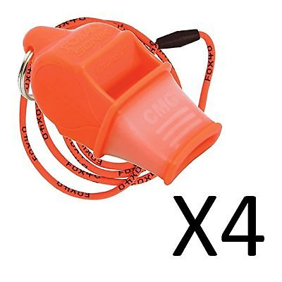 Fox 40 Sonik Blast CMG 2-Chamber Pealess Whistle with Lanyard, Orange (4-Pack)