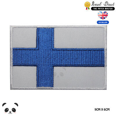 Finland National Flag Embroidered Iron On Sew On PatchBadge For Clothes etc