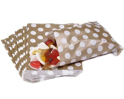 """100 Polka Dots Candy Sweet  Party Paper Bags 7"""" x 9"""""""
