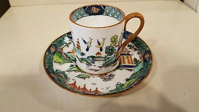 Crown Staffordshire Demitasse Cup Saucer- Ye Olde chinese willow, perfect