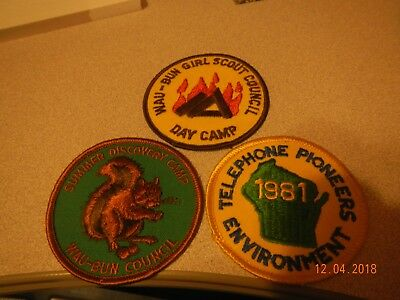 Wau-Bun Girl Scout patches 1980s: Day camp, Summer camp, Telephone pioneer
