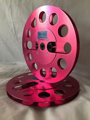 """ONE PAIR   New  7"""" Anodized Aluminum  metal Reel to Reels  Burgundy Red"""