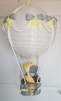 Hot Air Balloon yellow grey with a me to you bear Looks Stunning  Nursery Baby