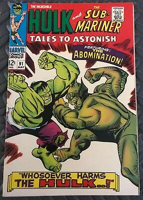 Tales to Astonish 91. Classic Hulk/Abomination Cover. Marvel. High Grade VF-