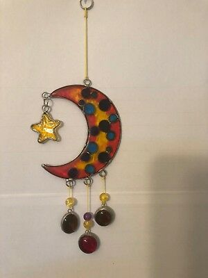 MOON & STAR GLASS WITH NUGGET SUN CATCHER 7 inches in NEW AND FREE SHIPPING