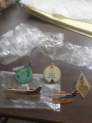 SEALED 5  Vintage Delta Air Lines Lapel Pins, Official Airline 1996 Olympics