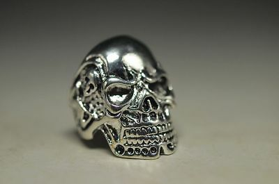 Exquisite Old Tibet Silver Copper Handmade Skull Man Ring Collection Nt