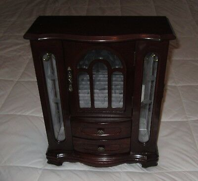 Vintage Large Wood Jewelry Chest Armoire 2 Drawers 3 glass Doors Velvet Interior