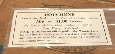NOS Douchene Feminine Hygiene Medical Label Oddities Historical Vintage Antique