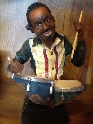 "African American table statue of a drummer about 12"" tall"