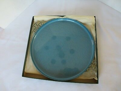"Vintage Moire glaze KYES 10"" Serving Tray Hand Made California Blue NIB"