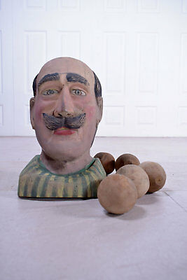 Antique Fairground Folk Art Knock Down Head Ball Game Funfair French Gent Bust