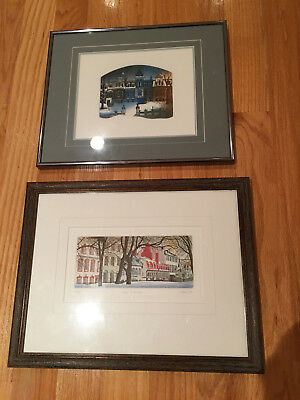 Lot of 2 JEAN CENCIG SONIA GILBERT Artists Original Etchings Numbered Framed