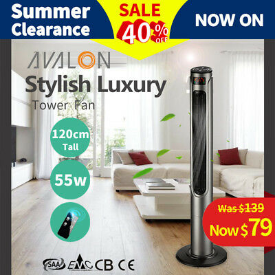 Luxury Avalon Portable Tower Fan 3046GR 120cm Remote Control LCD - Grey