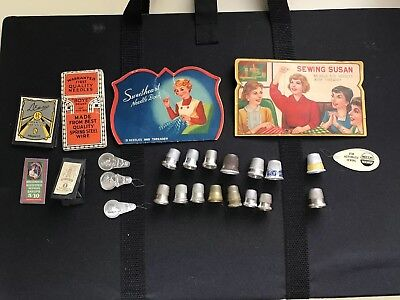 Lot of Vintage Sewing Cards, Needles, Thimbles And Threaders