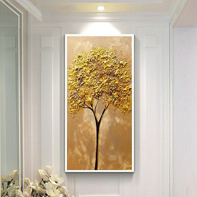 HH206 Hand-painted abstract oil painting on canvas Golden Tree No Frame 24x48in