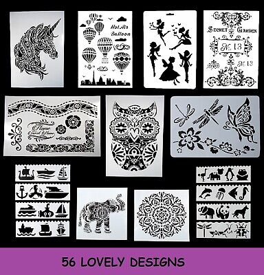 Layering Stencils Templates Scrapbooking Painting DIY Printing Flower, Butterfly