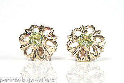 9ct Gold Peridot Round Stud earrings Made in UK Gift Boxed Studs Christmas Xmas