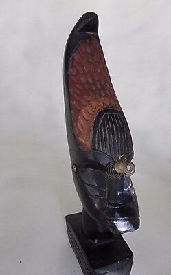 "African Wooden Head Figurine Tribal Statue Hand Carved Solid Wood 13"" Tall"