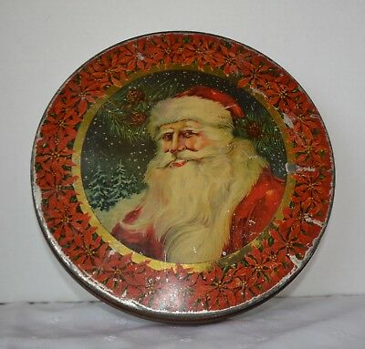 Large TINDECO Santa Round Tin Lithograph Container