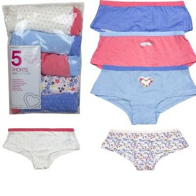 Girls Knickers Assorted Print 5 Pack Multi Print & Plain Cotton Hipster Briefs