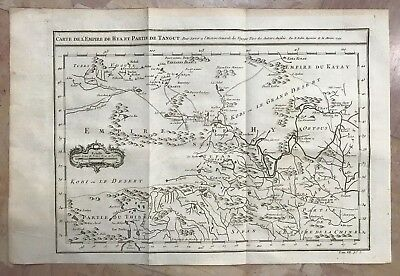 China Hya & Tangut 1749 Nicolas Bellin Antique Engraved Map 18Th Century