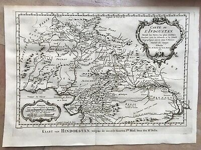 India Pakistan Afghanistan Dated 1752 Bellin- Van Schley Antique Engraved Map