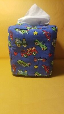 Handmade Cars Trucks Airplanes Stars Fabric Square Tissue Box Cover ONLY A2