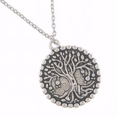 Antique Silver Plated, Tree Of Life, Round Pendant Necklace, Gift Friend Partner