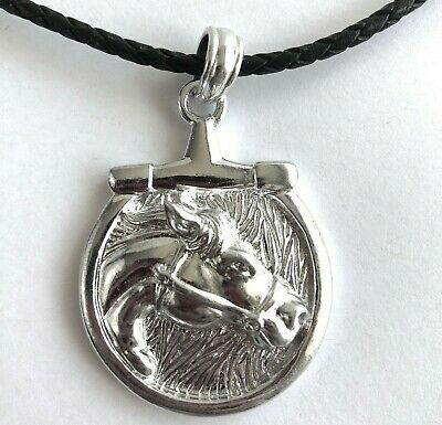 Arthur Court Jewelry Necklace Aluminium Equestrian Horse Bit 18 to 21in Leather