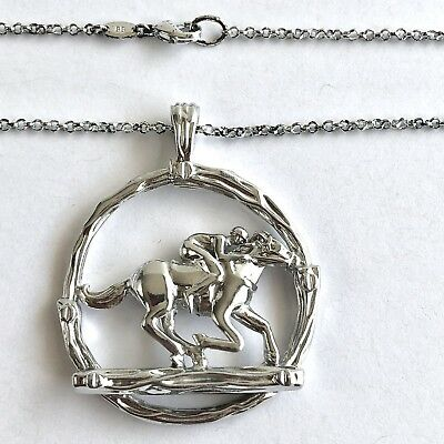 Arthur Court Necklace Aluminium Equestrian Horse Racing 2in Jewelry 18in Chain