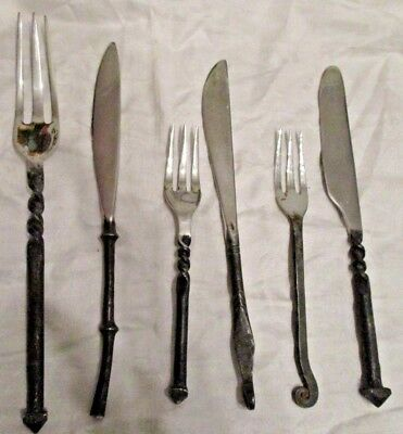 Cutlery hand made from old tools - 3 knives 3 forks